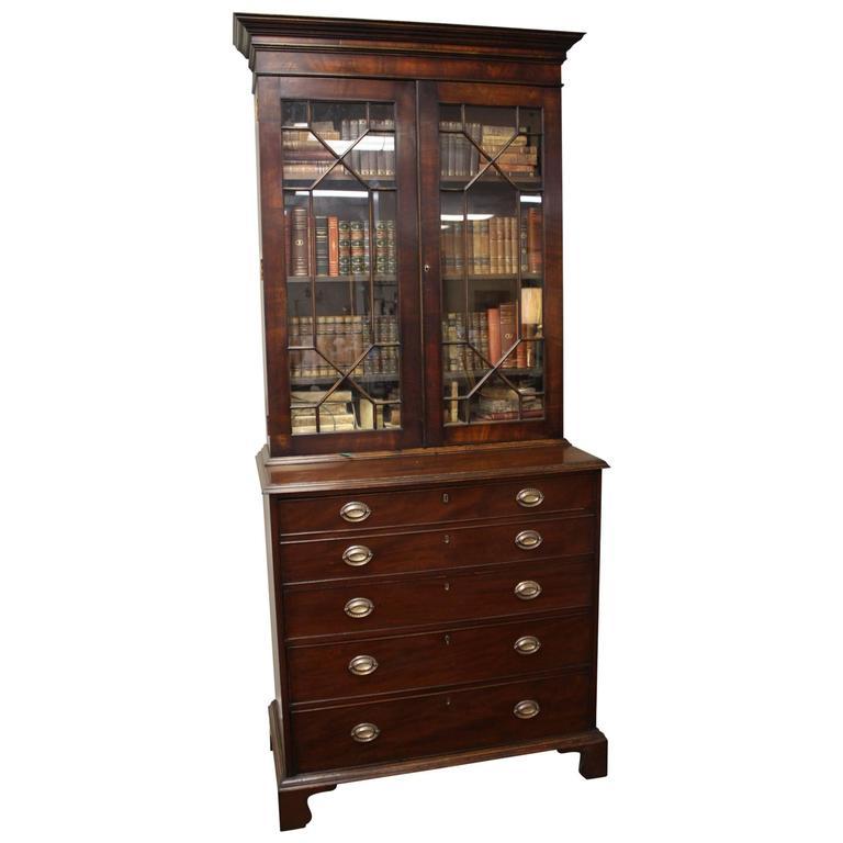 English mahogany bureau glazed bookcase at 1stdibs for Bureau in english