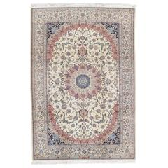 Persian Nain Carpet, Oriental Rugs, Handmade Ivory Rug, Sign HABIBIAN