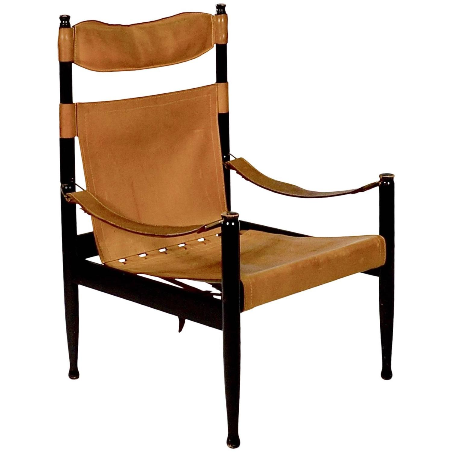 High Back Safari Chair with Slung Tan Leather Seat by Erik Worts