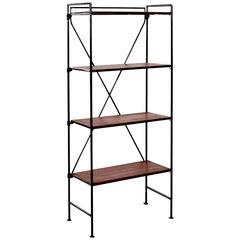 Set of Small Ebonized Wrought Iron and Teak Folding Shelves