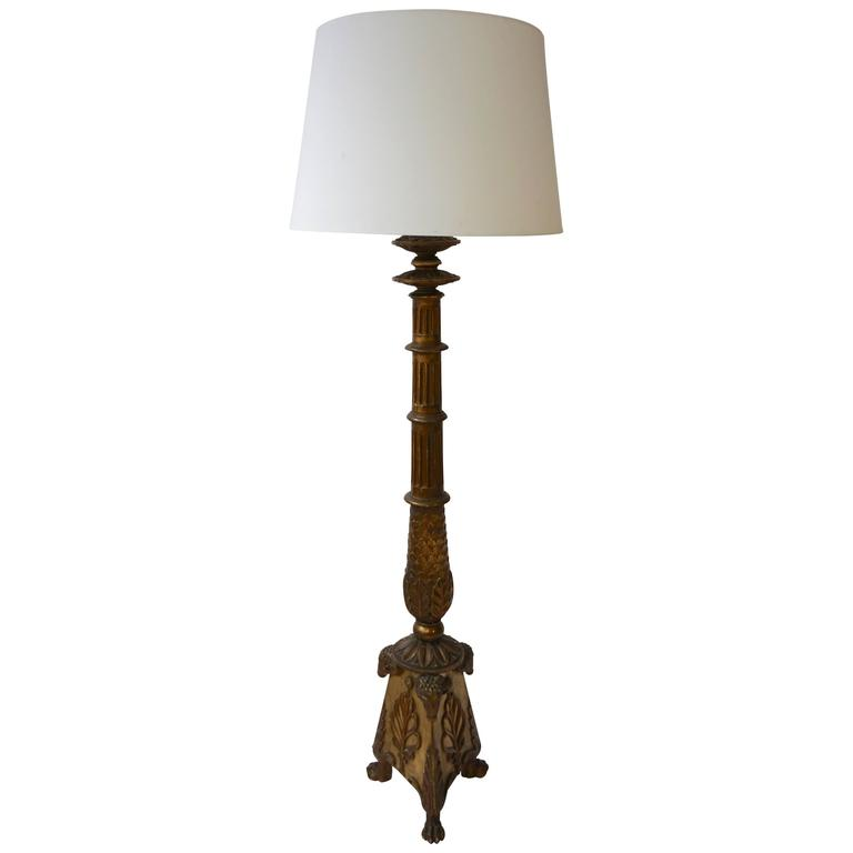 Giltwood Floor Lamp in the Greek Revival Neoclassical Style