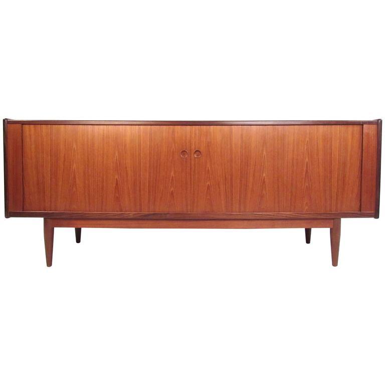 Danish Modern Teak Tambour Sideboard in the Style of Hans Wegner For Sale