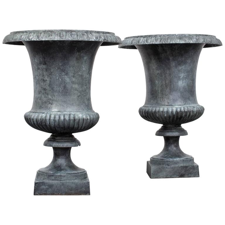 Pair of Cast Iron Urns Neoclassical, 19th Century, France