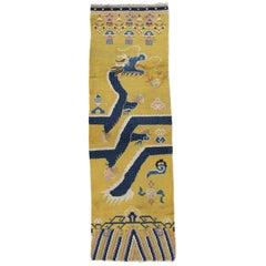 Antique Chinese Runner, Yellow and Blue Runner, Handmade Wool Rug