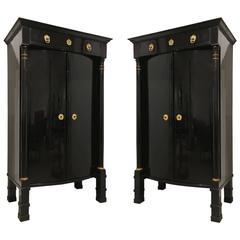 Pair of Austrian Biedermeier Ebonized Two-Door Cabinets