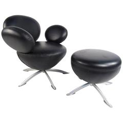 Arne Jacobsen Style Swivel Lounge Chair With Ottoman