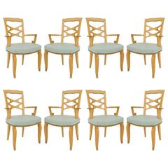 Set of Eight French Maple Chairs by Jules Leleu