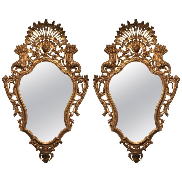 Pair of Italian Rococo Carved Giltwood Wall Mirrors