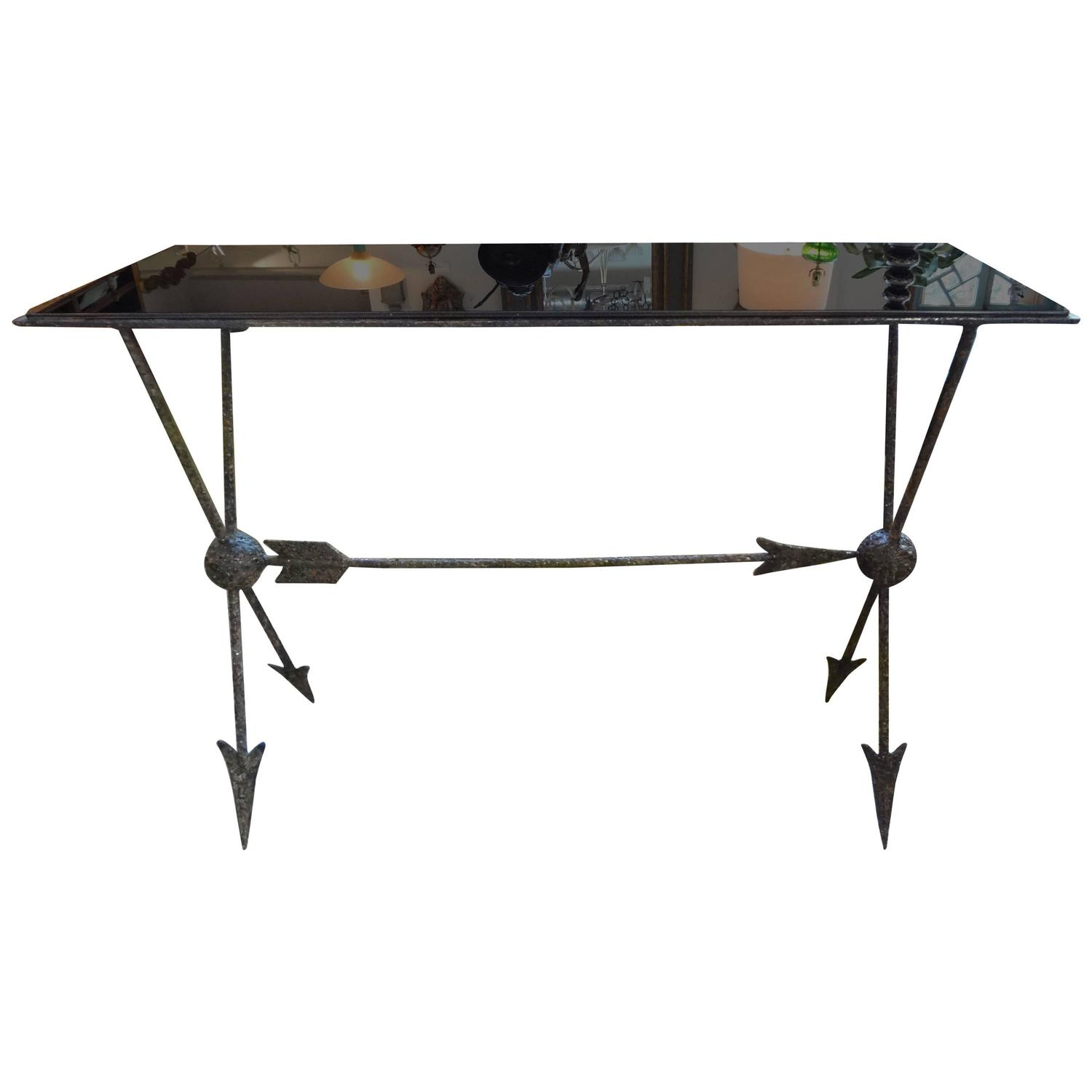 Italian gio ponti inspired wrought iron console table with for Metal console tables glass top