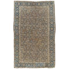 Antique Persian Bakhshaish, Taupe Handmade Wool Oriental Rug