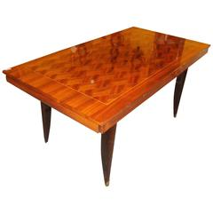 Italian Mid-Century Modern Parquetry Inlaid Dining Table Fine Exotic Wood