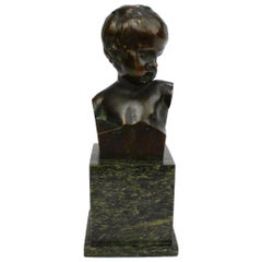Small Antique Bronze Bust of a Child after Jean-Antoine Houdon