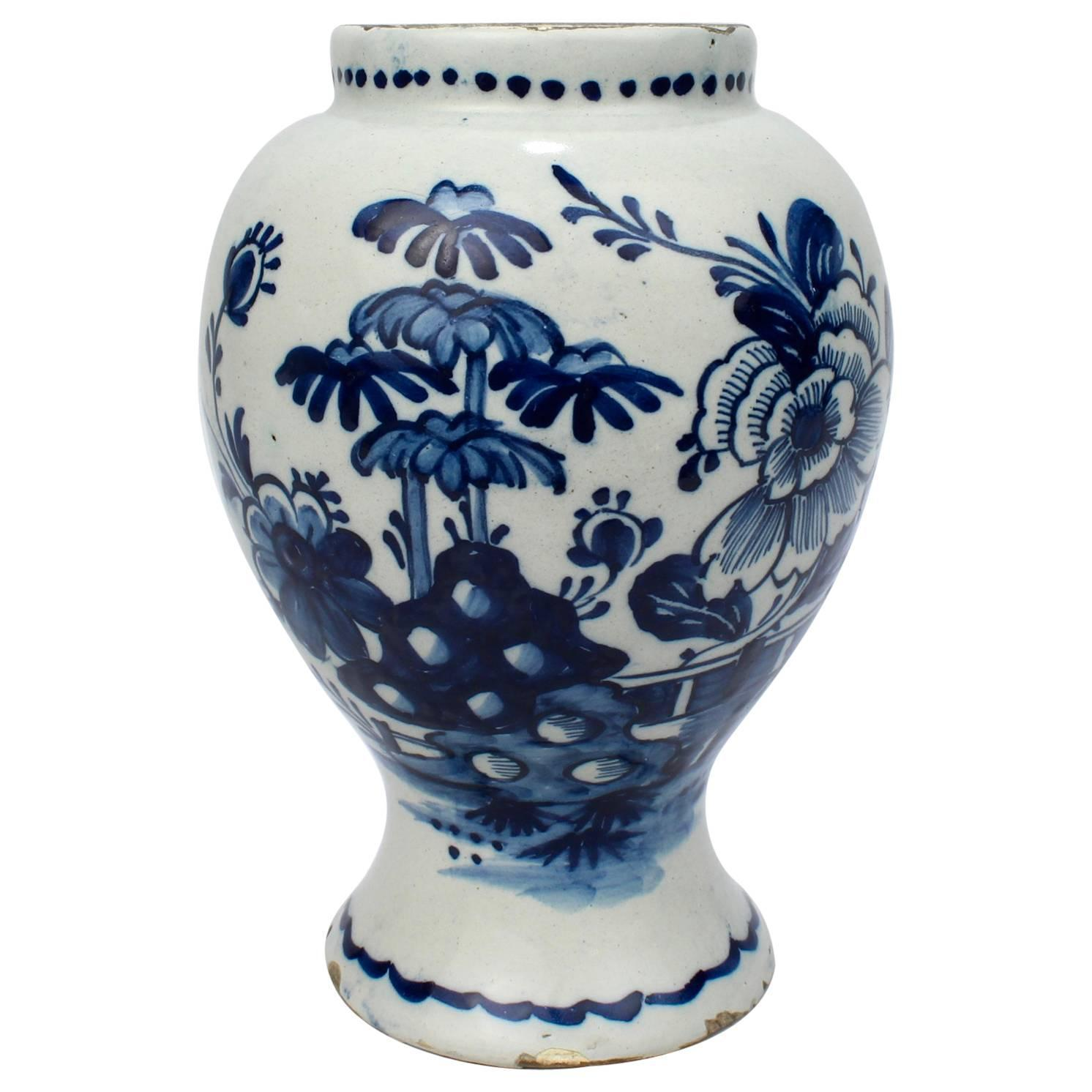 Delft vases and vessels 28 for sale at 1stdibs 18th century tin glazed dutch delft pottery blue and white vase or jar reviewsmspy