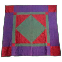 Amish Lancaster Co., Pennsylvania Diamond in a Square Quilt