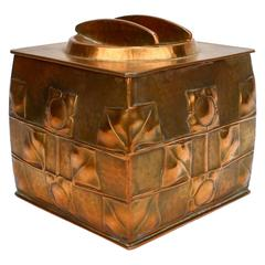 Art Nouveau Archibald Knox Design Copper Humidor by Jenning Brothers