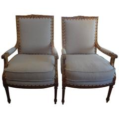 Pair Of Antique French Louis XVI Style Gilt Wood Armchairs