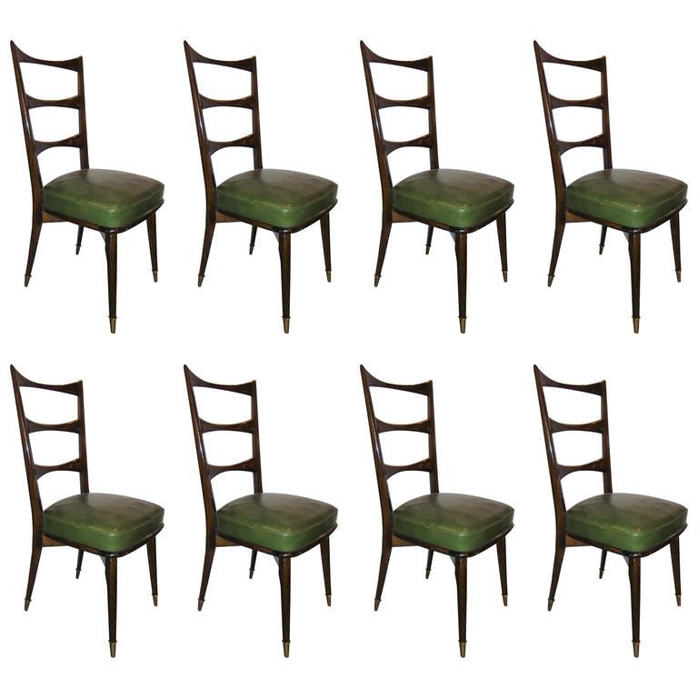 Set of Eight Italian Mid-Century Modern Dining Chairs Sturdy Ladder Back
