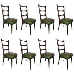 Set of Eight Italian Mid-Century Modern Dining Chairs Sturdy Ladder Back