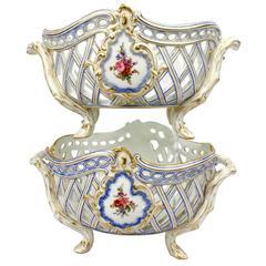 Pair of Old Paris Porcelain Reticulated Fruit Basket for Herbert Freres