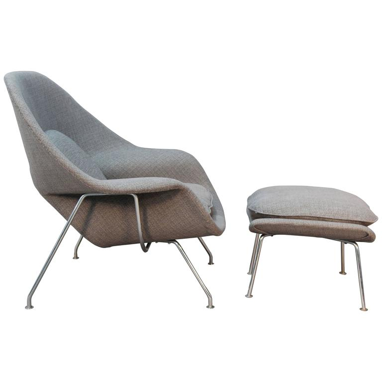 Eero Saarinen for Knoll Womb Chair and Ottoman Newly Upholstered