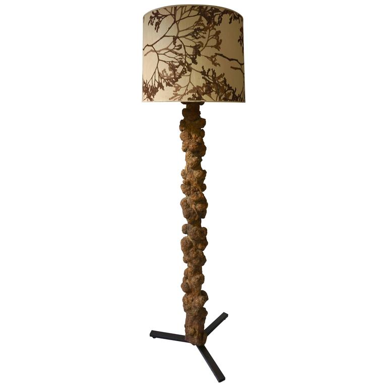 Unique and Highly Decorative Congolese Hardwood Tree Trunk Floor Lamp