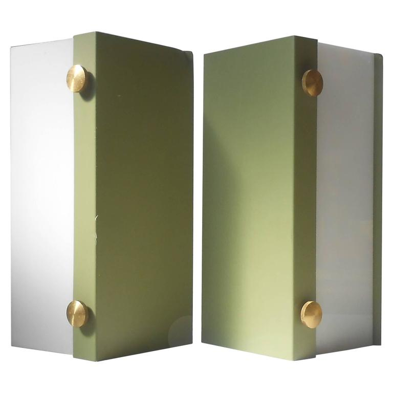 Rare Pair of Modernist Light Green Wall Sconces with 'Jumbo' Brass Screws For Sale