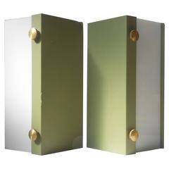 Rare Pair of Modernist Light Green Wall Sconces with 'Jumbo' Brass Screws