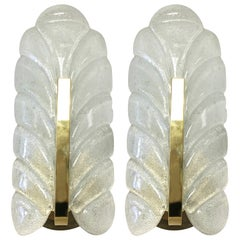1960s Glass Leaf and Brass Wall Sconces by Carl Fagerlund for Orrefors, Pair