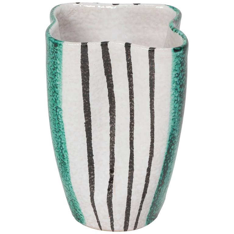 Alvino Bagni Ceramic Vase Green White & Black Stripes, Italy, 1950s