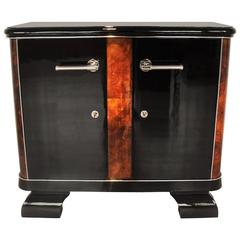 French Art Deco Commode with Burl Wood Details