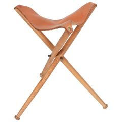 Swiss Tripod Folding Hunting Stool Leather and Beech, 1940s