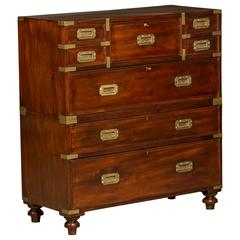 Campaign Chest in Mahogany with Original Brass Fittings and Secretary Interior