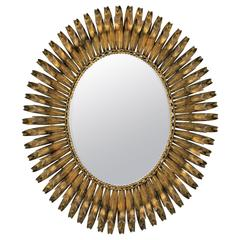 1950s Spanish Brutalist Gilt Iron Eyelashed Oval Sunburst Mirror