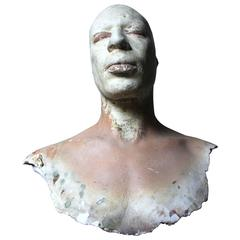 Anthropomorphic Composition Painted Plaster Death Bust Mask of an African Gent