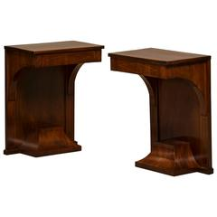 Empire Console Tables Made of Cuban Mahogany with Inlays in Light Wood