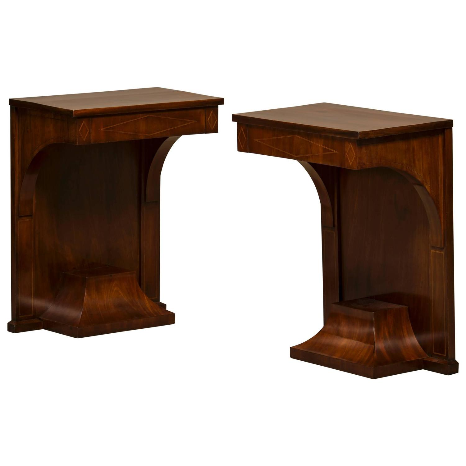 Empire Console Tables Made Of Cuban Mahogany With Inlays In Light Wood For Sale At 1stdibs