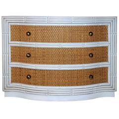 Chest of Three Drawers, Rattan and Lacquered Wood, France, circa 1970