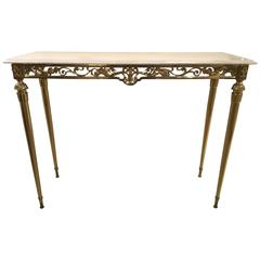 Italian Console in Brass and Carrara Marble Top