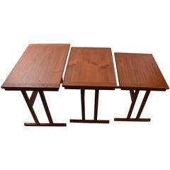 Three Stacking or Nesting Danish Teak Tables