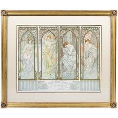 "French Art Nouveau Lithograph ""Four Times of Day"" by Alphonse Mucha"