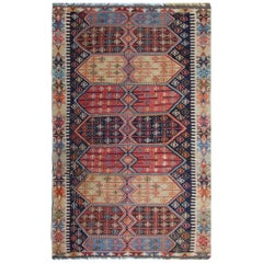 Turkish Rugs, Antique Kilims from Konya, Multi Colored Kilim Rug