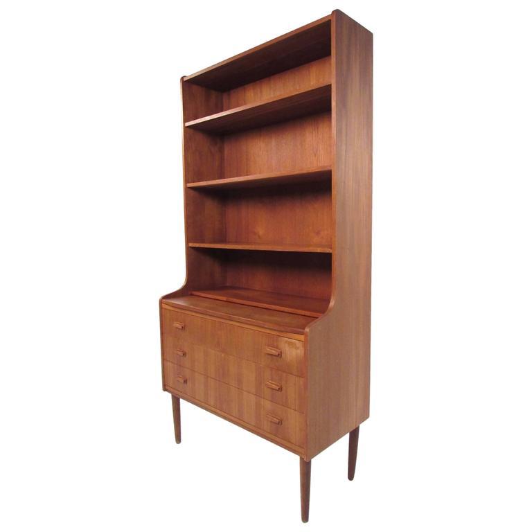 Mid-Century Modern Danish Teak Secretary with Bookshelf