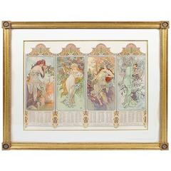 "French Art Nouveau Lithograph ""The Four Seasons"" by Alphonse Mucha"