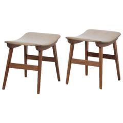 Pair of Midcentury Danish Leather Teak Footstools