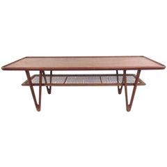 Kurt Ostervig Teak Coffee Table with Cane Shelf
