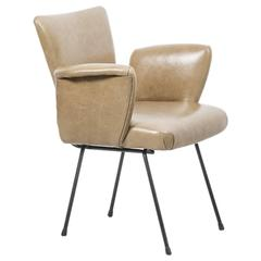 WH Gispen Leather Metal Chair Kembo, Netherlands, 1950s