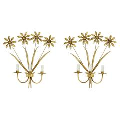 1960s Large Floral Pair of Sconces Maison FlorArt