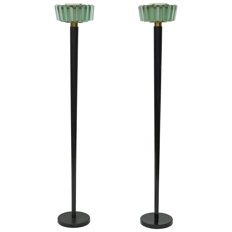 Pair of Fontana Arte Modern Glass Shade and Brass Italian Floor Lamps, 1960
