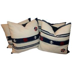 Early Mexican Tex Coco Indian Weaving Pillows, Pair