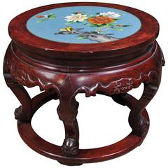 Antique Chinese Cloisonné Hardwood Pedestal Stand Table